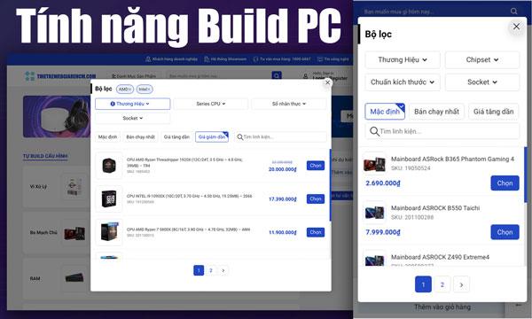 Tính năng build PC trên wordpress