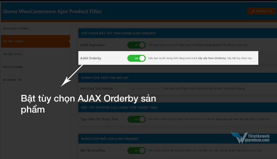 Bật AJAX Orderby sản phẩm