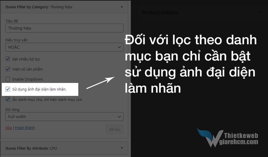 Bật ảnh đại diện làm nhãn đối với widget filter theo danh mục