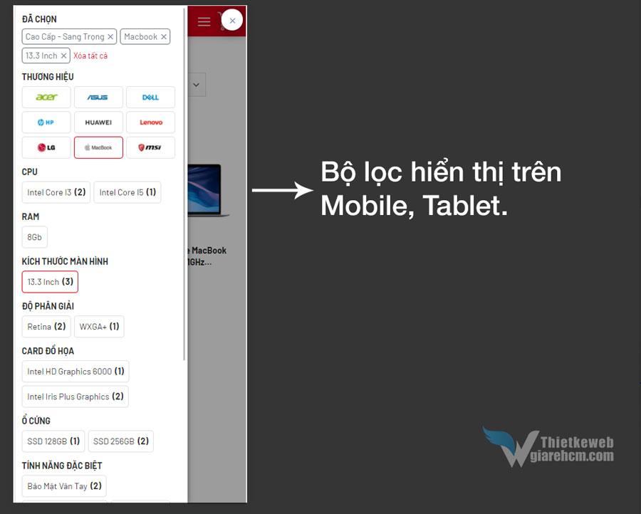 Bộ lọc hiển thị trên Mobile