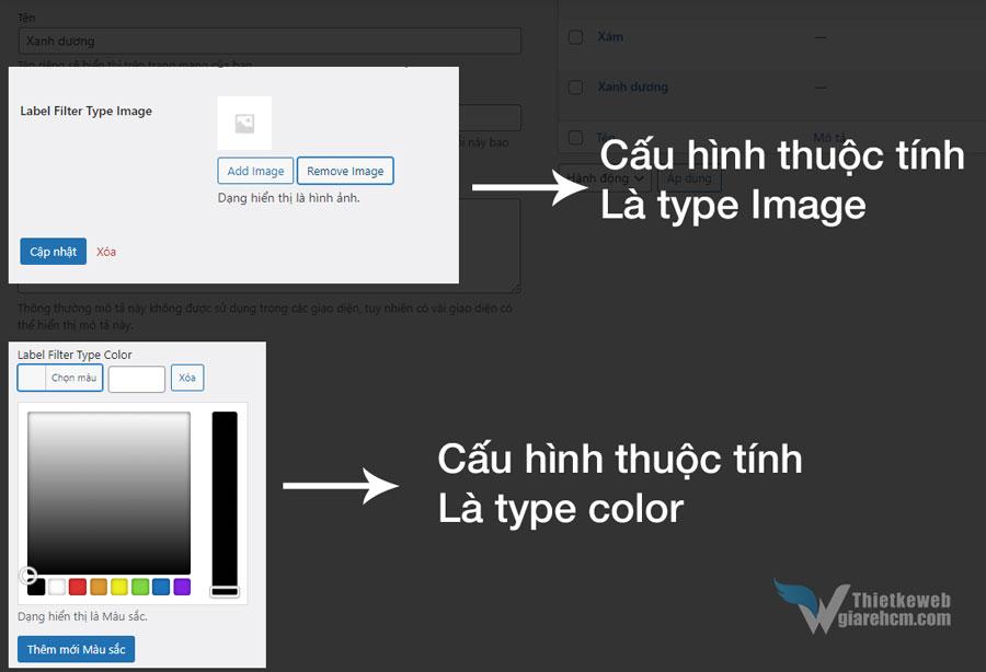 Cấu hình nhãn hiển thị tương ứng với mỗi type